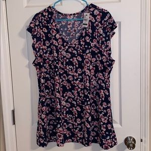 Lane Bryant Navy Blue Floral V-Neck T-Shirt NWT
